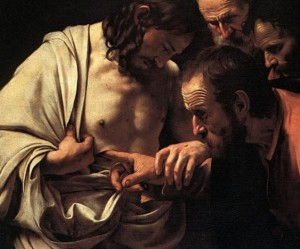 Jesus and Thomas by Caravaggio (1602)